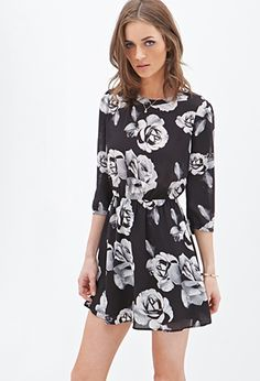 Rose Print Fit & Flare Dress | Forever 21 - 2055880232 looking at dresses for graduation already!