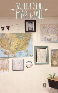 Create a gallery style map wall that's inexpensive, meaningful and educational - a fun art idea for a kid's playroom or a family room.