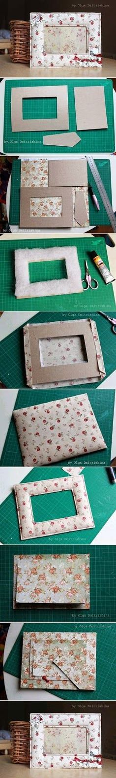 Beste DIY-Bilderrahmen und Bilderrahmen-Ideen - Nice Soft Photo Frame - How To M . Cadre Photo Diy, Diy Photo, Creative Crafts, Diy And Crafts, Decor Crafts, Marco Diy, Diy Projects To Try, Fabric Crafts, Cardboard Crafts
