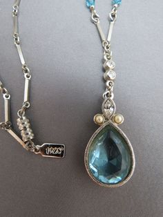 """1928 Necklace Blue Cut Glass Crystal Pendant Silver Tone Victorian Inspired 18"""" #1928 #Pendant"""
