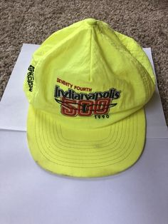 91083d7debf Vintage Rare Neon Yellow Nylon 1990 Indianapolis 500 Racing SnapBack Hat   fashion  clothing  shoes  accessories  mensaccessories  hats (ebay link)