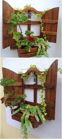Wood Pallet pallet patio wall decor planting idea - Everyone is an artist if provided with opportunity and resources to craft his imagination into reality. The cost-effective wood pallets is the biggest source of. Wood Pallet Recycling, Recycled Pallets, Wooden Pallets, Recycled Wood, Patio Wall Decor, Pallet Wall Decor, Pallet Walls, Pallet Patio, Pallets Garden