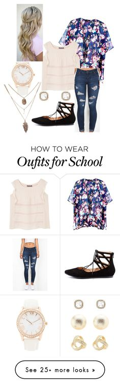 """""""School"""" by brooklynhollingshead on Polyvore featuring New Look, Violeta by Mango, LULUS, Forever 21 and Charlotte Russe"""