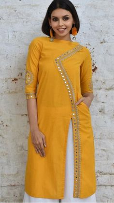 Beautiful Cotton-chanderi  Kurta with mirror And resham embroidery embellishments.
