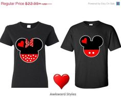 Mickey Minnie Disney COUPLE Shirt.S-5XL. Valentines day gift.Inspired t shirt. It's for your Mr. Mrs right. Available as crewneck and hoodie on Etsy, $19.99