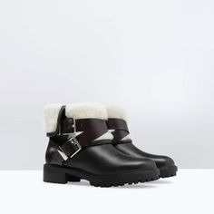 Image 2 of FUR LINED LEATHER BOOTIES from Zara