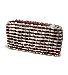 Pop Top mini clutch 'Chica Rosa' in Chocolate Brown. Made of recycled aluminum pop tabs. Beautifully finished with zipper and matching satin liner #reducereuserecycle #sustainable #10thanniversary #bridesmaidsgifts