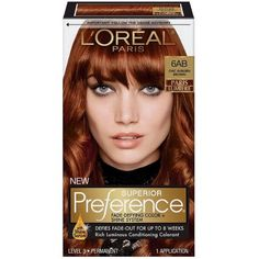 L'Oreal® Paris Superior Preference® Fade-Defying Color + Shine System – Ch… – Erica Johnson - Perm Hair Styles At Home Hair Color, Red Hair Color, Brown Hair Colors, Brown To Blonde Balayage, Red To Blonde, Box Hair Dye, Dyed Hair, Auburn Brown, Copper Hair