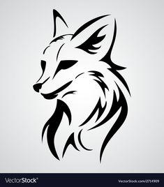 Fox Tattoo Design vector image on VectorStock Cool Art Drawings, Animal Drawings, Tattoo Drawings, Tribal Fox, Tribal Animals, Fox Tattoo Design, Tattoo Designs, Fox Tattoo Men, Fox Tattoos