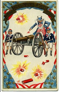 Vintage 4th of July Fabric Block Postcard Image on Fabric BT Babbitts 1776