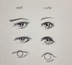 """EYE DRAWINGS If you wanna give a character a certain energy/feeling, take eye brows, and eye shape into account! :) Round shapes are usually for """"youthful"""" looks. The point screams """"foxy lady!"""" In the style of Jimmy Hendrix! Realistic Eye Drawing, Drawing Eyes, Manga Drawing, Pencil Art Drawings, Art Drawings Sketches, Cool Drawings, Drawings Of Eyes, Hipster Drawings, Art Illustrations"""