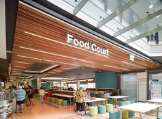 SUPAWOOD Custom slats to budget & on time… no problem! The design for the refurbishment of the Food Court at Rockdale Plaza NSW involved extensive use of cedar slats for the ceilings of the malls but budget and custom elements in the design could not be achieved with standard panel sizes. By choosing SUPAWOOD's SUPASLAT panel system a custom solution was found.