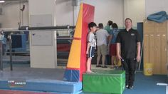 Learning to move, fall, and jump backwards is an important skill for gymnastics - especially for back handsprings. Here Christopher Brown from California Spo. Gymnastics Lessons, Gymnastics Room, Preschool Gymnastics, Amazing Gymnastics, Gymnastics Coaching, Gymnastics Workout, Gymnastics For Boys, Gymnastics Things, Back Handspring Drills