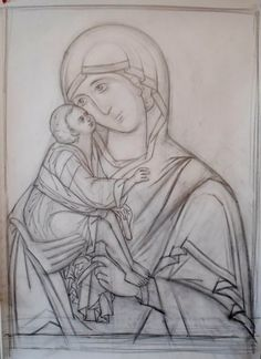 The tracing. The best books about the technology of the icon-painting… Teaching Drawing, Drawing Lessons, Byzantine Icons, Byzantine Art, Icon Design, Mary And Jesus, Drawing Studies, Madonna And Child, Religious Icons