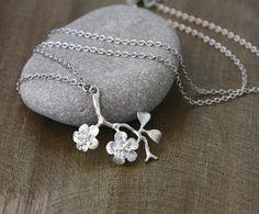 Silver Apple Blosson Branch Necklace Twig by lamaisondefloria, €16.00