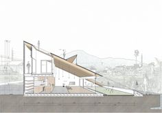 Completed in 2018 in Usuki, Japan. The site is located on the rolling hills of Usuki-city in Oita Prefecture. Concept Models Architecture, Roof Architecture, Architecture Graphics, Architecture Diagrams, Architectural Section, Passive House, Small Buildings, Architect House, Roof Design
