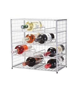 "From WineRacks.com. Equally at home in the modern kitchen as it is in the country store, our new bottle Bin's hand-wired craftsmanship and industrial aesthetic is form following function at its finest. Holds 16 bottles  Dimensions: 15.5""h x 15.5""w x 9.5""d"