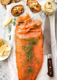 Homemade Cured Salmon Gravlax is arguably the easiest luxury food to make at home at a fraction of the cost of store bought! Fish Dishes, Seafood Dishes, Fish And Seafood, Fish Recipes, Seafood Recipes, Cooking Recipes, Healthy Recipes, Seafood Appetizers, Cured Salmon Recipe