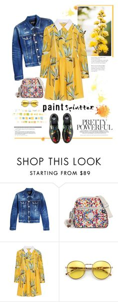 """Splatter Prints"" by ellie366 ❤ liked on Polyvore featuring Dsquared2, Kipling, Fendi, Wildfox, Dr. Martens and paintiton"