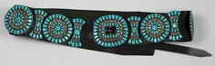 """Native American turquoise and silver concho belt ; Eight round and nine butterfly silver conchos. Round conchos approximately 3"""", butterfly conchos approximately 3"""" x 1.5"""", buckle measures 3 1/2"""" x 3 1/4"""", all mounted on a leather belt, signed JW by Juliana Williams, length 38"""""""
