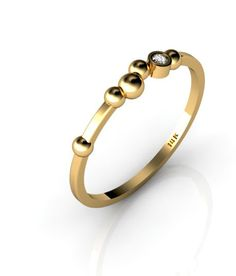 Polka Dot 14K Yellow Gold ring with White Diamond by ChicJoaillerie on Etsy