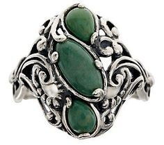 Carolyn Pollack Green Turquoise Sterling Ring