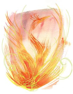 A watercolor phoenix tattoo. I think this is it.