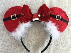 Items similar to Santa mouse ears, holiday mouse ears, christmas mouse ears, mouse ears on Etsy Disney Ears Headband, Diy Disney Ears, Disney Headbands, Disney Mickey Ears, Diy Headband, Disney Diy, Disney Crafts, Ear Headbands, Diy Christmas Hats