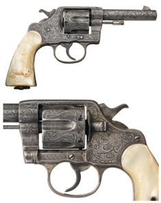 Factory Engraved Colt New Service Revolver with steer head carved pearl grips. Circa 1901.