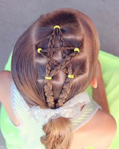 Brown Haired Bliss - Braided star into a side ponytail. Such a fun accent! You could do braids, or rope twists, or leave the hair flat! Fun 4th of July Hairstyle!