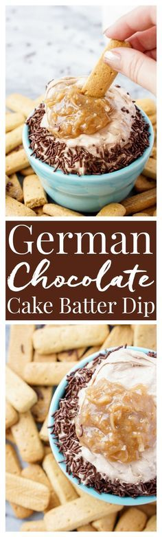 This German Chocolate Cake Batter Dip is made in less than 5 minutes with just 3 ingredients and is super addictive! You just can't beat that delicious mix of chocolate, coconut, pecans and caramel!