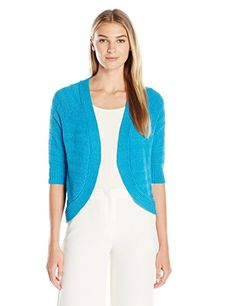 Calvin Klein Womens Striped Texture Shrug Cerulean XLarge *** Check out the image by visiting the link.