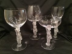 Set of 4 Bayel frosted nude male stemware wine champagne cordial Bacchante