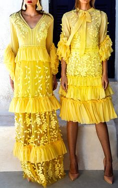 Ruffle Sleeve V Neck Silk Chiffon Long Dress by COSTARELLOS for Preorder on Moda Operandi