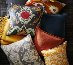 Kantha Embroidered Pillow Cover | Pottery Barn - more pillow ideas