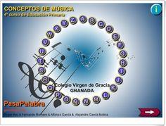 Pasapalabra de Conceptos de Música de 4º Nivel de Educación Primaria de Genmagic. Juega con los aciertos y el tiempo empleado, pudiendo servir para afianzar el conocimiento de los conceptos y como evaluación o autoevaluación. Para uso individual o en pizarra digital interactiva.