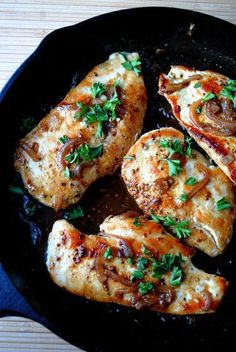 Cooking Time: 45 Minutes Recipes Makes: 4 Servings Calories: 380 Carbs: 6 Grams Fat: 15 Grams Protein: 50 Grams Ingredients  2 tsp. vegetable oil 4 clean chicken breasts 2 small shallot onions 1/2 cup beer 2 tbsp. soy sauce 1 tbsp. Dijon mustard 1 tbsp. honey 2 tbsp. parsley leaves Salt and pepper to taste