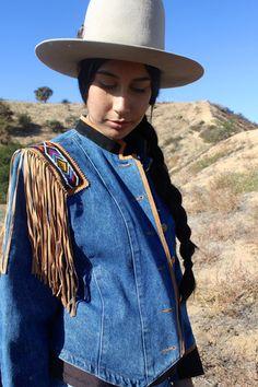 """""""Southwest Bound"""" Vintage Beaded and Denim Jacket – Honeywood"""