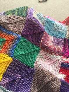 Sock yarn scrap blanket