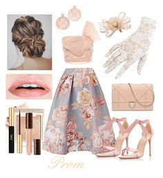 """""""Blushing Prom Queen"""" by la-fille-acadian on Polyvore featuring RED Valentino, Alexandre Birman, Bronzallure, Black and Yves Saint Laurent"""