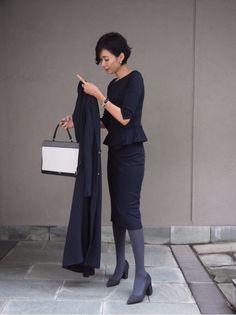 Office Fashion, Work Fashion, Daily Fashion, Navy Dress, Work Attire, Rock, Capsule Wardrobe, Autumn Winter Fashion, Style Me
