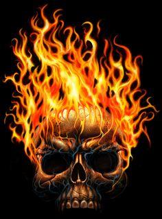 Flamin Skull by AndrewDobell.deviantart.com on @deviantART