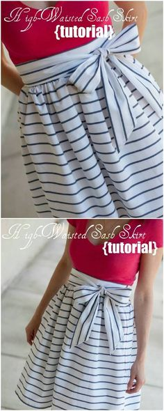 DIY High-Waisted Sash Skirt Step by Step Instructions...can't sew but wish I could! this is a super cute skirt!