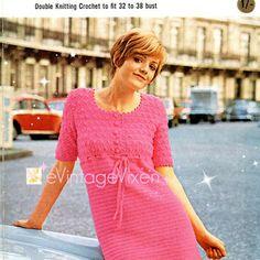 1970 Popołudnie Dress-vintage-Retro Wzór Szydełkowy Sexy-MOD-letnia…