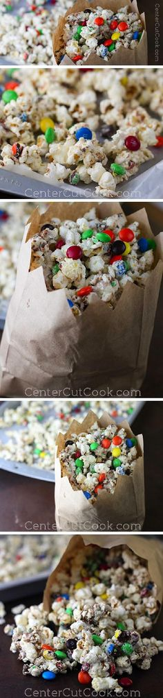 This White Chocolate Popcorn adorned with M&M's is like no other popcorn you've ever had! Salt, yet sweet. The combination of flavors is out of this World!