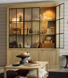 Flamant Library Iron Jason Weathered Oak, glass shelves and iron trim US and Canada