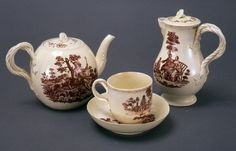 Teapot, Coffee pot and cup and saucer, Staffordshire, Leeds, ca. 1770.