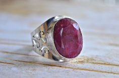 Ruby ring cigar band victorian style solitaire by BonfireVintage, $57.80
