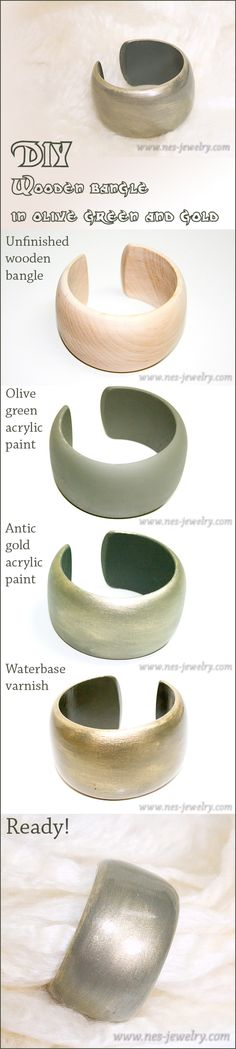 DIY wooden bangle project: Olive green and gold wooden bangle http://nes-jewelry.com/diy-wooden-bangle-in-olive-green-and-gold/