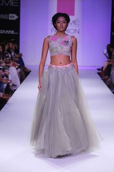Whimsical style from Anushree Reddy, love the text in the blouse